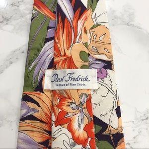 Paul Fredrick Accessories - Paul Fredrick Vintage 80s Floral Silk Tie EUC